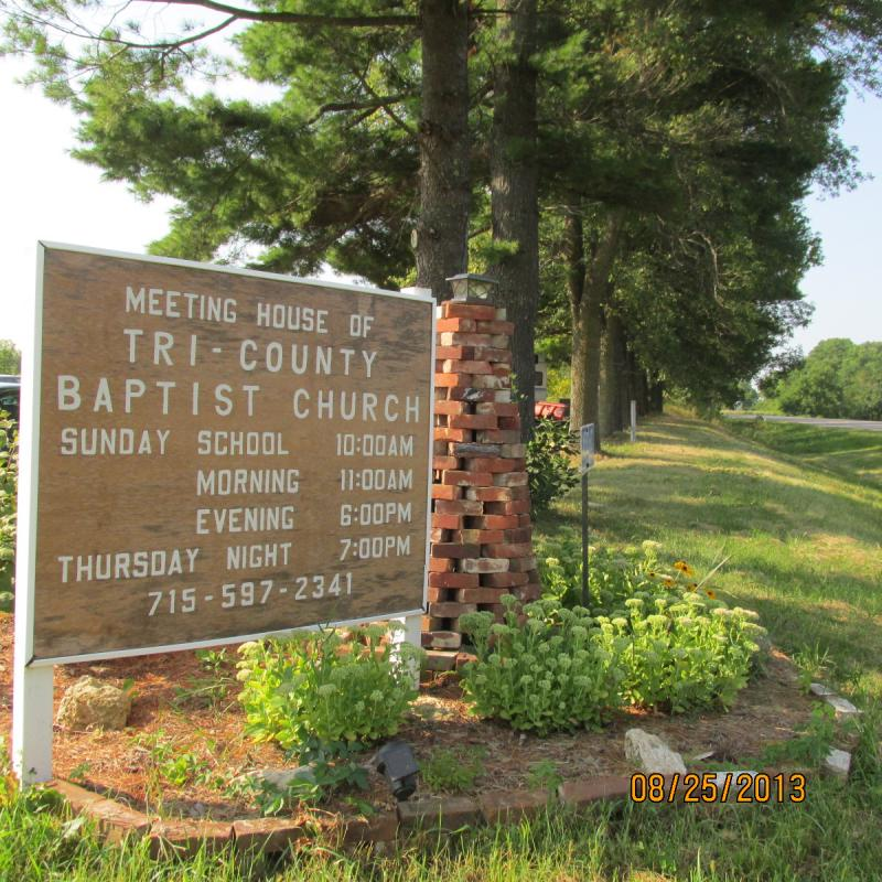 Tri-County Baptist Church Service Sign